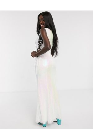 Dolly & Delicious All over embellished lace up side maxi dress in white