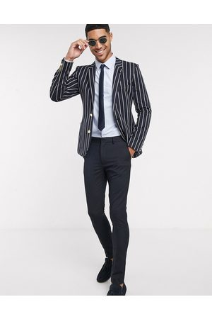 ASOS Super skinny blazer in navy stripe with gold buttons