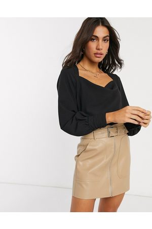 ASOS Long sleeve cowl neck top in black