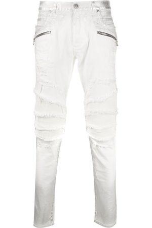 Balmain Skinny jeans biker con diseño rasgados