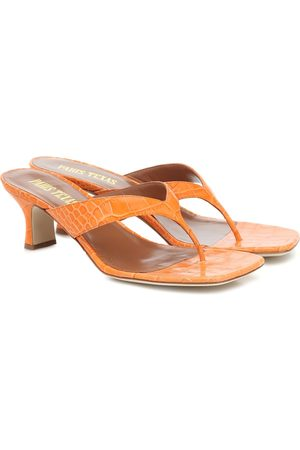 PARIS TEXAS Croc-effect leather thong sandals