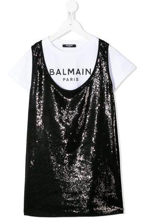 Balmain Kids Logo-print layered T-shirt