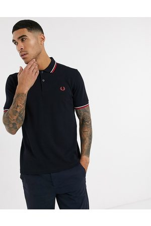 Fred Perry Twin tipped logo polo in navy/white/red