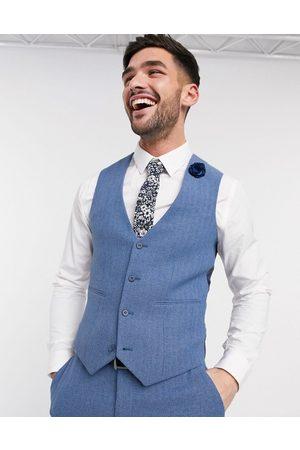 ASOS DESIGN Wedding super skinny suit waistcoat in cornflower blue wool blend herringbone