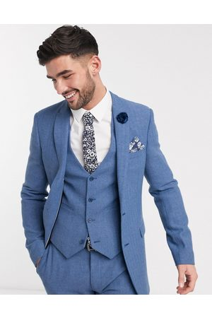 ASOS Wedding super skinny suit jacket in cornflower blue wool blend herringbone