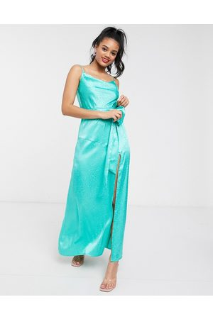 Dark Pink Cowl satin jacquard slip dress with thigh high split in aqua