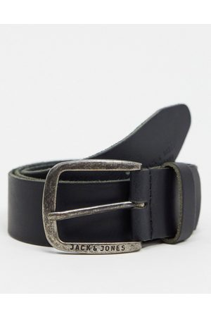 Jack & Jones Smooth leather belt with logo buckle in black