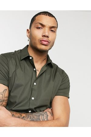 ASOS Stretch skinny fit shirt in khaki