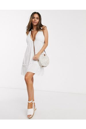 ASOS Fuller bust bunny tie shoulder tiered beach dress in white
