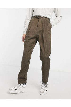 ASOS Hombre Chinos - High waist wide leg trouser in brown stripe