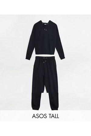 ASOS ASOS DESIGN Tall tracksuit hoodie / slim jogger with tie in organic cotton in black
