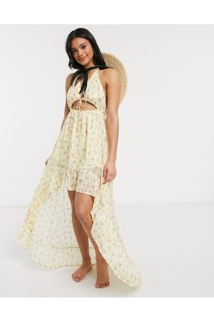 ASOS High low hem tie front beach dress in yellow ditsy floral print