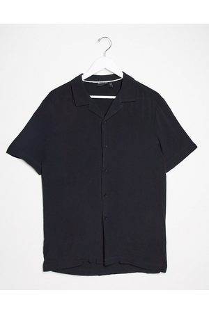 ASOS Regular fit viscose shirt with revere collar in black