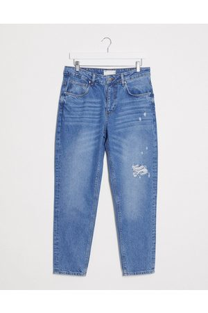 ASOS Classic rigid jeans in mid wash blue with rips