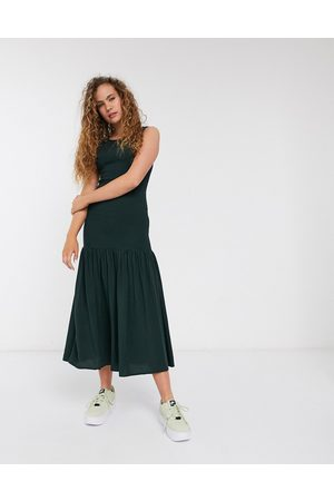 Weekday Josephine shirred midi dress in dark green