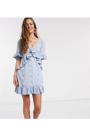 ASOS ASOS DESIGN Tall Exclusive broderie v frill front smock mini dress in blue
