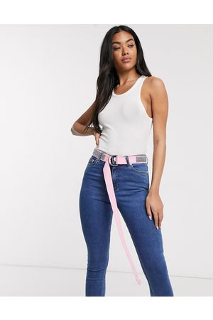 ASOS Diamante webbing waist and hip jeans belt in pink