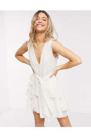 ASOS Soft layered mini dress with tie waist detail in cream