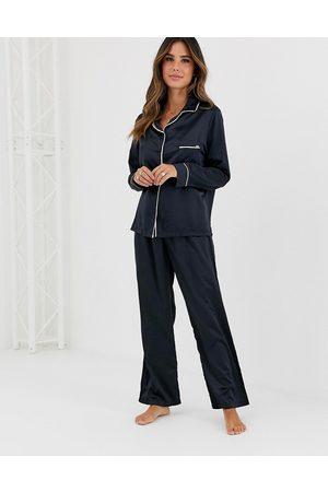 BlueBella Claudia Satin Pyjama Set in black