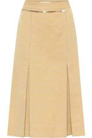 Victoria Beckham Belted linen and cotton midi skirt