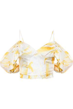 Cult Gaia Cristina off-shoulder silk top