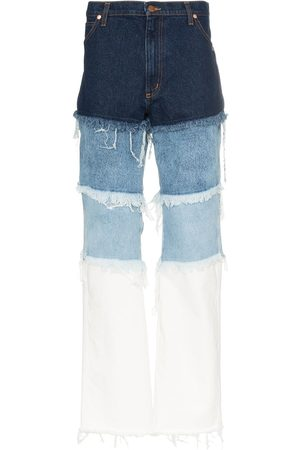DUOltd Hombre Rectos - Jeans con diseño patchwork envejecido