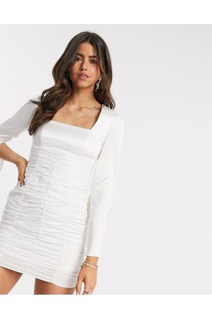 ASOS Ruched mini dress with satin top and split sleeve in ivory