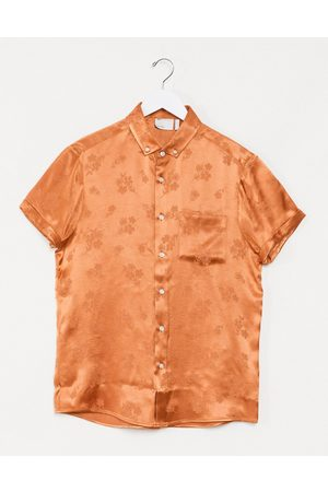 ASOS Regular fit shirt in orange floral jaquard
