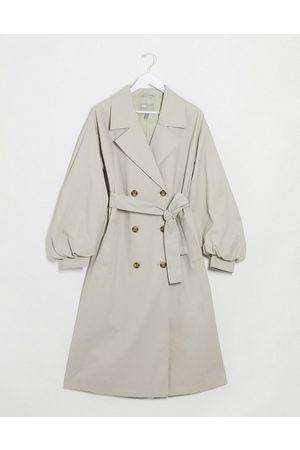ASOS Extreme balloon sleeve trench coat in sage
