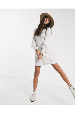 ASOS DESIGN Mini shirt dress with corset waist detail in white