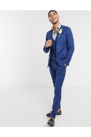 ASOS Wedding super skinny suit trousers in stretch cotton linen in navy