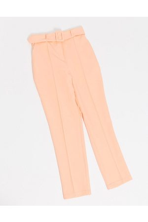 ASOS DESIGN High waist belted cigarette trouser in pastel pop
