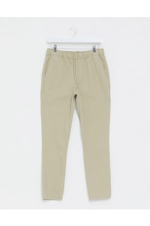 ASOS Skinny chinos in putty with elastic waist