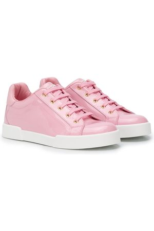 Dolce & Gabbana Tenis - Lace-up shiny leather sneakers