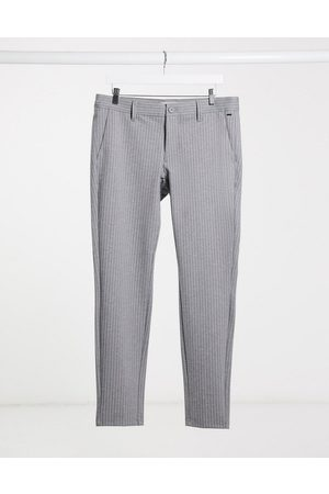 Only & Sons Stretch smart trouser in grey pinstripe