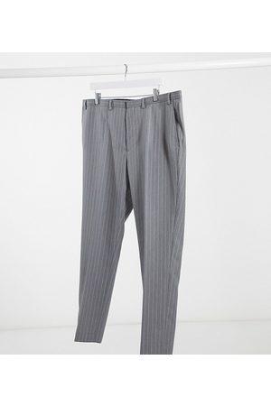 Burton Big & Tall skinny suit trousers in grey & pink stripe