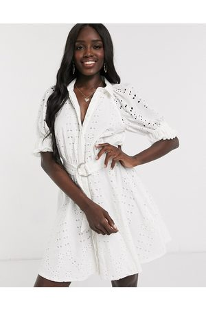 ASOS Broderie mini shirt dress with puff sleeves in white
