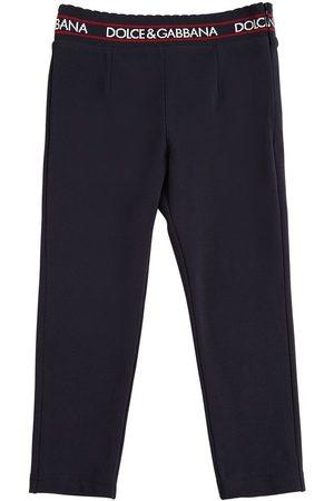 Dolce & Gabbana Cotton Interlock Pants W/ Logo Detail