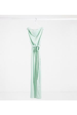 Flounce London Exclusive satin drape shoulder maxi dress in mint