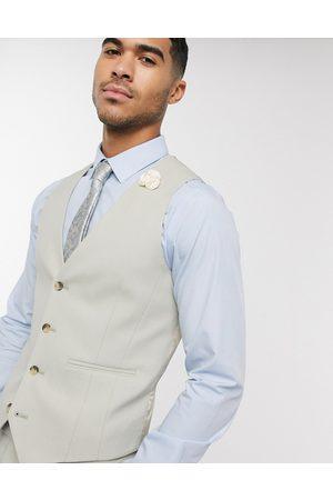 ASOS Wedding skinny suit waistcoat in sage green