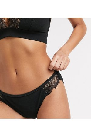Wolf & Whistle Fuller Bust Exclusive hipster bikini bottom with lace in black