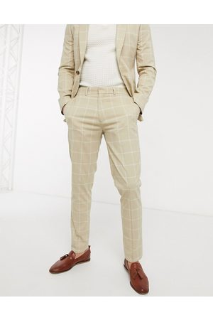 ASOS Skinny suit trousers in stone windowpane check