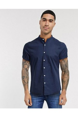 ASOS Hombre Manga corta - Stretch skinny fit shirt in navy with grandad collar