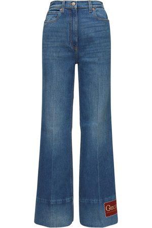 Gucci Jeans Acampanados De Denim De Algodón
