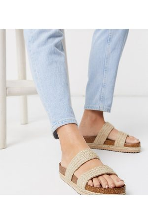 South Beach Exclusive raffia double strap slide sandals in natural