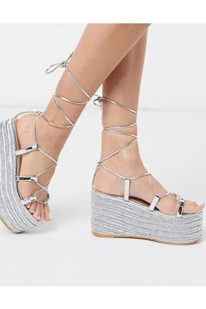 SIMMI Shoes Simmi London Melanie espadrille gladiator flatform in silver mirror