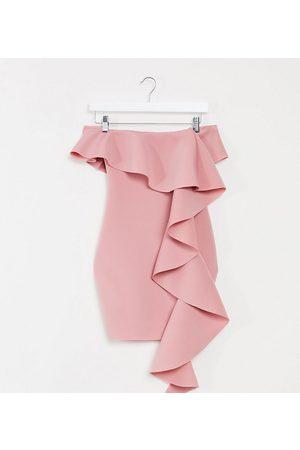 Missguided Scuba bardot mini dress with ruffle detail in blush