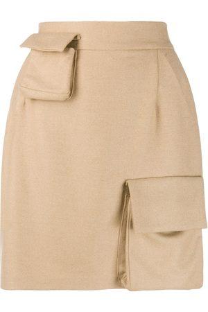 Natasha Zinko Mujer Faldas - Falda de tiro alto con múltiples bolsillos