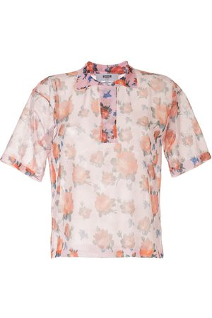 Msgm Rose print sheer shirt