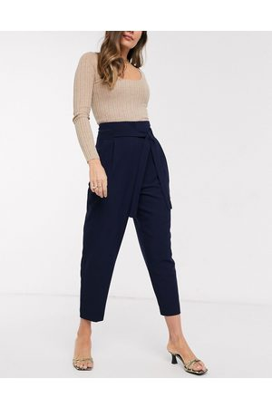 ASOS Tailored tie waist tapered ankle grazer trousers